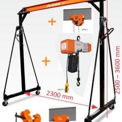 Zestaw do podnoszenia suwnica, wciągnik łańcuchowy elektryczny, wózek jezdny - udźwig 1000 kg