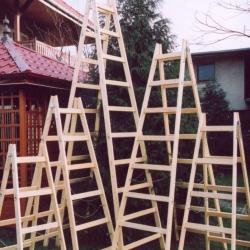 Drabina rozstawna drewniana dwustronna