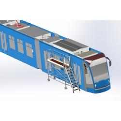 Drabina z podestem do obsługi tramwajów
