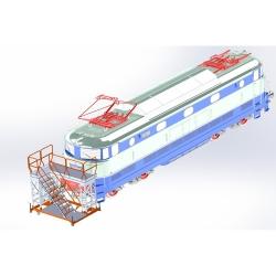 Platforma, schody z podestem do obsługi pociągów.