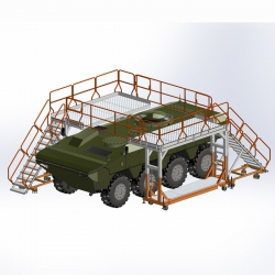 Rusztowanie, podest roboczy do obsługi pojazdów wojskowych