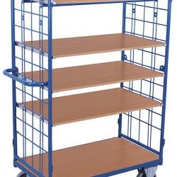 Wózek piętrowy wysoki, 2 ściany i 5 półek