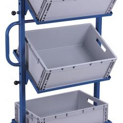 Wózek z 3 skrzynkami z tworzywa, 2 półki nachylone