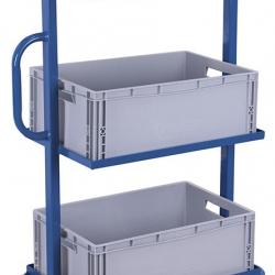Wózek z 3 półkami i skrzynkami z tworzywa sztucznego