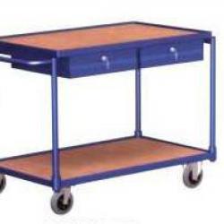 Lekki wózek stołowy z 2 półkami i uchwytem