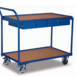 Lekki wózek stołowy z 2 półkami i 2 szufladami