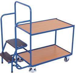 Wózek z 2 półkami i schodkami do kompletacji