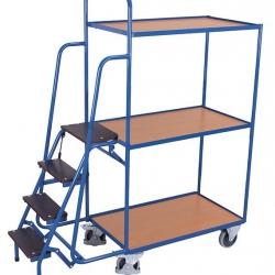 Wózek z 3 półkami i 4 schodkami do kompletacji