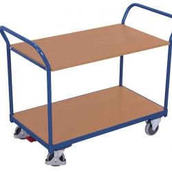 Wózek stołowy z 2 półkami, górna półka zawieszana, 2 uchwyty