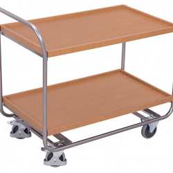 Aluminiowy wózek stołowy z 2 półkami i uchwytem