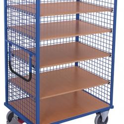 Wózek półkowy z 1 stałą i 4 ruchomymi półkami