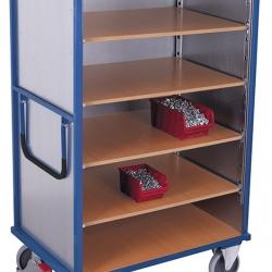 Wózek półkowy z 1 stałą i 4 ruchomymi półkami, zabudowany z czterech stron
