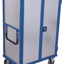 Wózek półkowy z 1 stałą i 4 ruchomymi półkami, dwuskrzydłowe drzwi, zabudowany