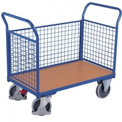 Wózek z 3 burtami, wysokość burt 500 mm, dłuższa burta wyjmowana