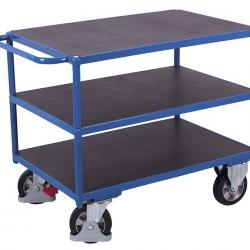 Wózek stołowy z 3 półkami antypoślizgowymi, 1000 kg udźwigu