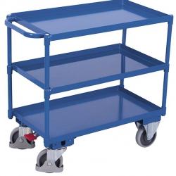 Wózek stołowy 3 półki w formie wanien stalowych, udźwig 400 kg