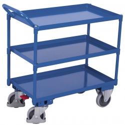 Wózek z 3 półkami w formie stalowych wanien, udźwig 400 kg