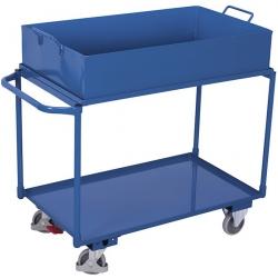 Wózek z wysoką wanną stalową, 2 półki, udźwig 250 kg