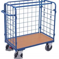 Niski wózek koszowy na paczki, 3 ściany, udźwig 200 kg