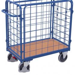 Niski wózek siatkowy koszowy na paczki, udźwig do 500 kg, 4 ściany