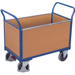 Wózek z 4 burtami z drewna zabudowany, udźwig do 500 kg, 4 modele