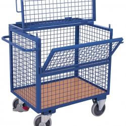 Wózek osiatkowany z podwójna burtą, udźwig 500 kg, 2 modele