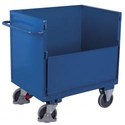 Wózek blaszany skrzyniowy zabudowany, bez wieka, udźwig 500 kg, 2 modele