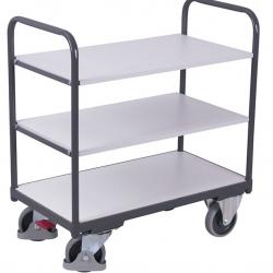 Wózek ESD z 3 półkami, przewodzący ładunki elektryczne, 4 modele, 250 kg