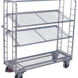 Wózek półkowy z nachylonymi 2 półkami, ocynkowany, udźwig do 400 kg, 2 modele