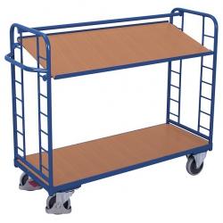 Wózek z nachyloną półką z drewna, udźwig do 400 kg, 2 modele