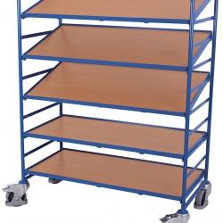 Wózek z nachylonymi 3 półkami, 2 prostymi, płyty drewnopodobne, udźwig 250 kg