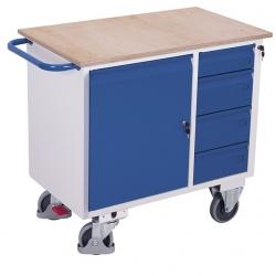 Wózek warsztatowy 1 półka, 4 szuflady, udźwig 400 kg