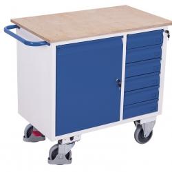 Wózek warsztatowy 1 szafka, 6 szuflad, 1 półka, udźwig 400 kg
