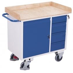 Wózek warsztatowy 1 szafka, 4 szuflady, 1 półka, udźwig 400 kg