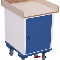 Wózek warsztatowy, szafka drzwi skrzydłowe, 1 półka, udźwig 150 kg