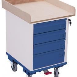 Wózek warsztatowy z 4 szufladami i 1 półką, udźwig 150 kg