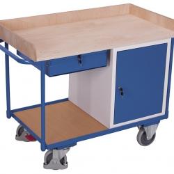 Wózek warsztatowy z 2 półkami, 1 szufladą, 1 szafką, udźwig 400kg
