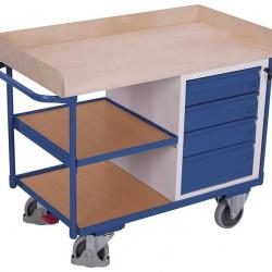 Wózek warsztatowy, 3 powierzchnie użytkowe, 4 szuflady, 400 kg udźwig