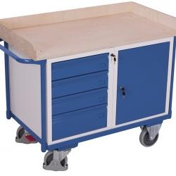 Wózek warsztatowy z 1 półką, 4 szuflady, 1 szafka, udźwig 400 kg