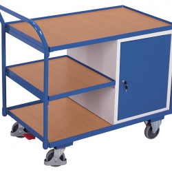 Wózek do warsztatu z 3 półkami i 1 szafką, uchwyt, udźwig 250 kg