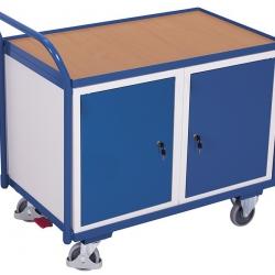 Wózek do warsztatu z powierzchnią użytkową i 2 szafkami, 250 kg udźwig