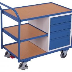 Wózek do warsztatu, 3 półki, 4 szuflady, uchwyt, udźwig 250 kg