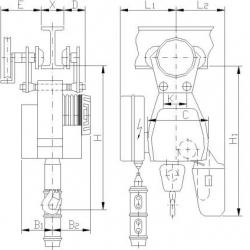 Wciągniki łańcuchowe typy B Bułgary - przejezdne z ręcznym napędem mechanizmu jazdy