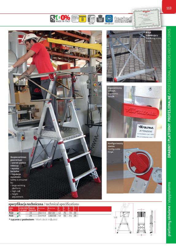 Drabina magazynowa PLS - Specyfikacja techniczna gdzie kupić