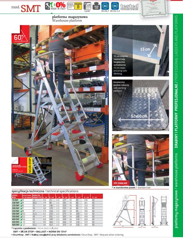 Drabina aluminiowa SMT - Specyfikacja techniczna