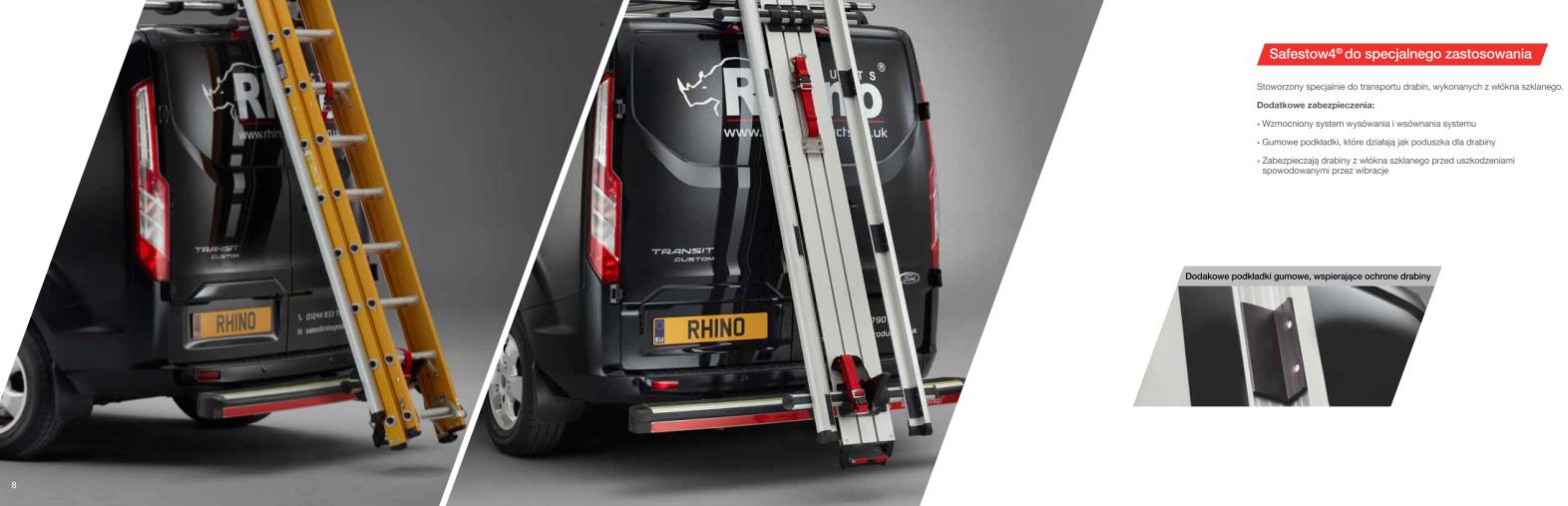 Systemy do transportu drabin łatwy bezpieczny ładunek rozładunek RHINO