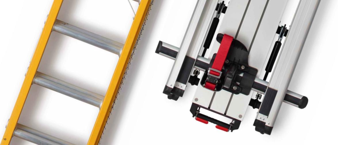 Systemy do transportu drabin łatwy bezpieczny ładunek rozładunek RHINO33
