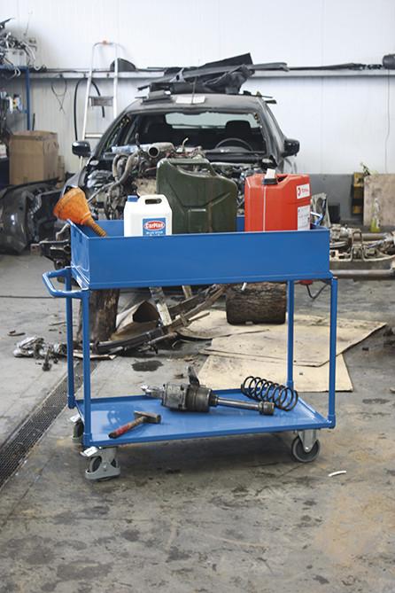 Wózek z wysoką wanną stalową, 2 półki, udźwig 250 kg2