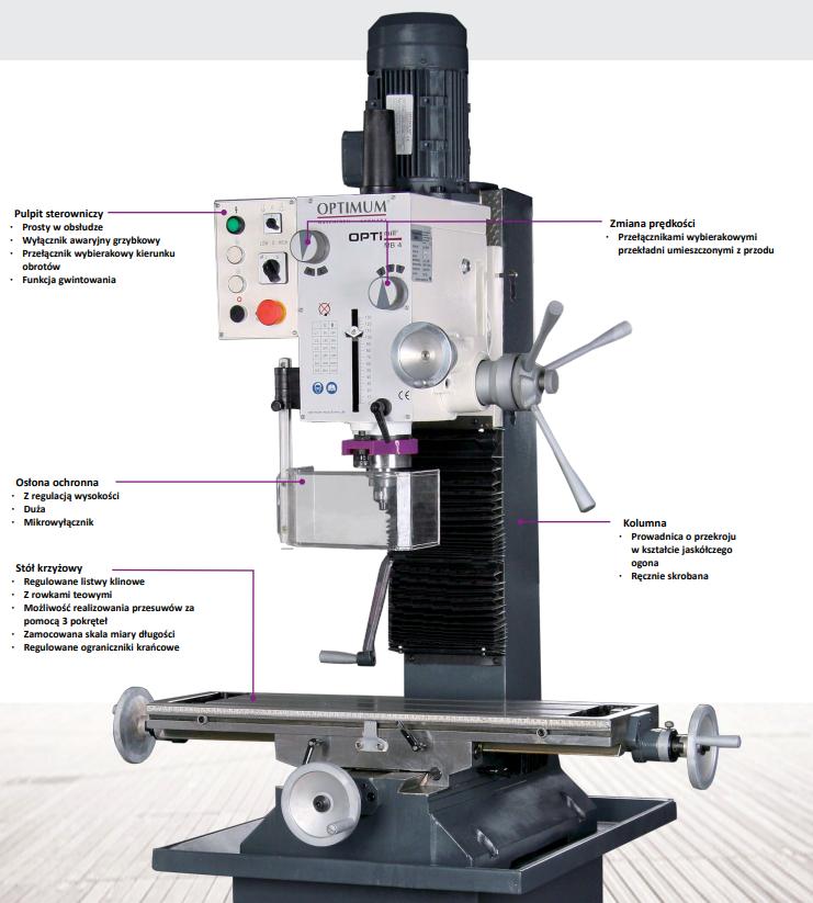 Model MB 4 Nr artykułu 3338450 Dane maszyny Napięcie elektryczne 400 V / 3 Ph ~50 Hz Moc silnika napędu wrzeciona 1,1 / 1,5 kW Wydajność wiercenia-frezowania Średnica wiercenia w stali (S235JR) Ø 32 mm Średnica wiercenia ciągłego w stali (S235JR) Ø 28 mm Maks. średnica głowicy frezarskiej Ø 63 mm Maks. średnica freza trzpieniowego Ø 28 mm Mocowanie wrzeciona Wysuw tulei wrzeciona 120 mm Mocowanie we wrzecionie MK 4 Średnica tulei wysuwnej 75 mm Odległość wrzeciona od kolumny 275 mm Głowica wiertarsko-frezarska Zakres prędkości obrotowych wrzeciona 95 – 3.200 min-1 Stopnie przekładni 2 x 6 Stopni Zakres wychylenia ± 600 Stół krzyżowy Długość stołu 800 mm Szerokość stołu 240 mm Odstęp wrzeciono – stół krzyżowy 460 mm Szerokość rowka teowego / rozstaw 14 mm / 63 mm Maksymalne przesuwy Oś X 450 mm Oś Y 195 mm Oś Z 430 mm Wymiary Długość 1 100 mm Szerokość 850 mm Maks. wysokość 1 150 mm Ciężar całkowity 320 kg