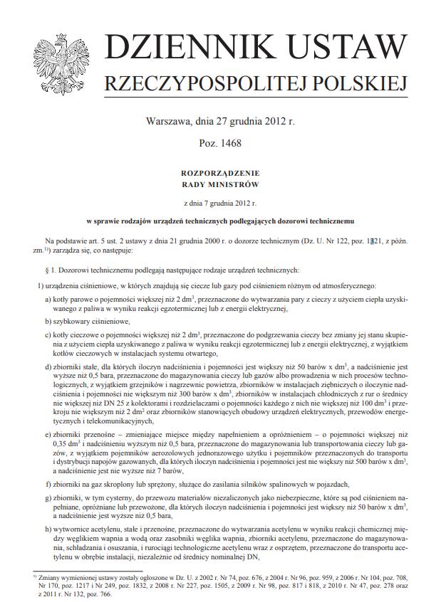 Rozporządzenie Rady Ministrów z dnia 7 grudnia 2012 r. w sprawie rodzajów urządzeń technicznych podlegających dozorowi technicznemu